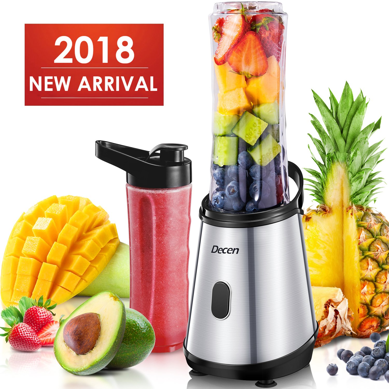 Personal Blender, Decen Smoothie Blender with 2 Tritan BPA-Free 20 oz Travel Bottles, Smoothie Maker, Mini Blender for Juice, Milkshake and Smoothie, 300W, Silver
