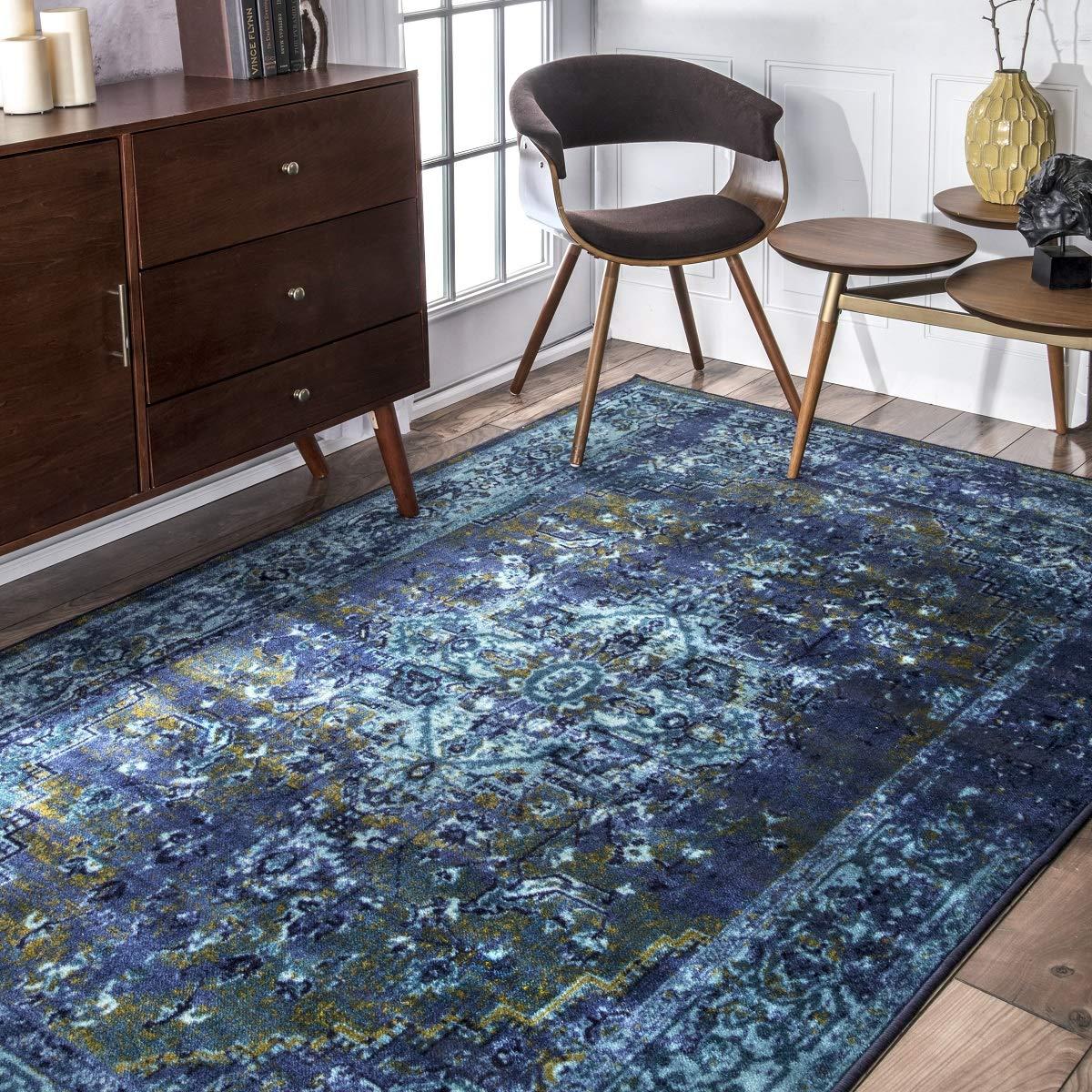 nuLOOM 200MCGZ01C-508 Reiko Vintage Persian Area Rug, 5 x 8 , Blue