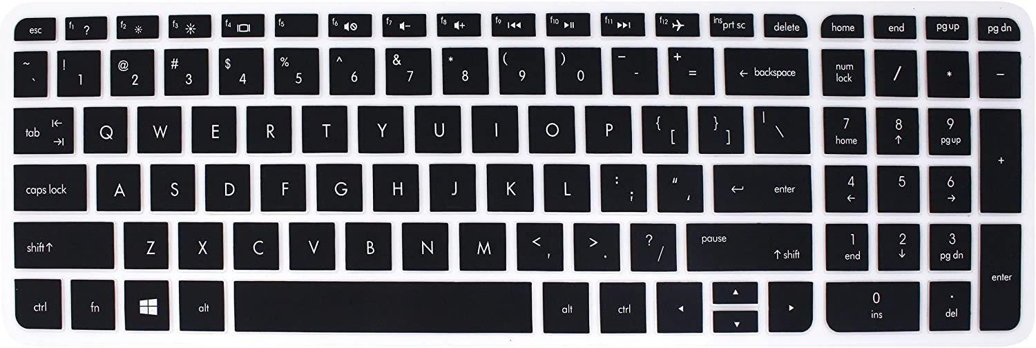 "Elastic Silicone Keyboard Cover Skin for 15.6"" HP Pavilion 15-ab 15-ac 15-ae 15-af 15-an 15-ak 15-as 15-ay 15-au 15-ba 15-bc 15-bk 15-ax Series, HP Envy x360 m6-ae151dx m6-p113dx m6-w (Black)"
