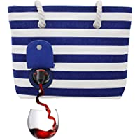 PortoVino Beach Wine Purse (Blue/White) - Beach Tote with Hidden, Insulated Compartment, Holds 2 bottles of Wine…