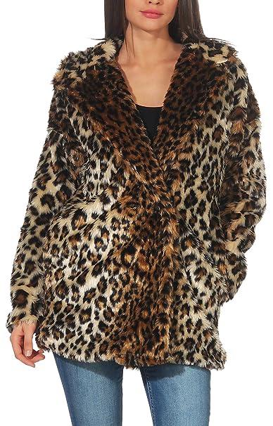 Malito Mujer Chaqueta Corto Abrigo Leopardo Estampado Fleece 9358 (marrón, XXL)