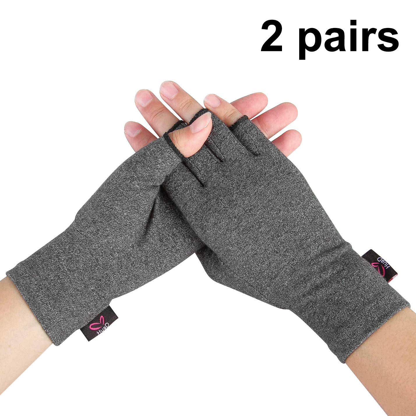 2 Pairs - Compression Arthritis Gloves for Women and Men, Fingerless Design to Relieve Pain from Rheumatoid Arthritis and Osteoarthritis (Grey, Small)