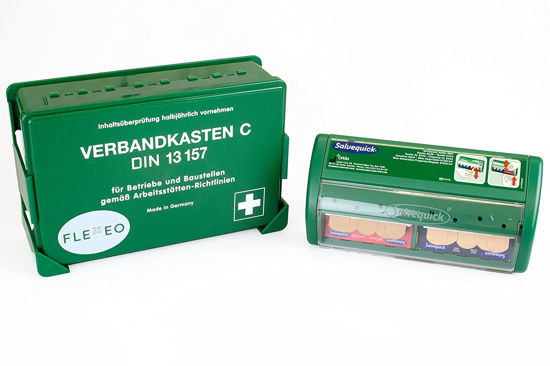 FLEXEO Betriebsverbandkasten DIN 13 157 (inkl. gefü lltem Salvequick Pflasterspender)