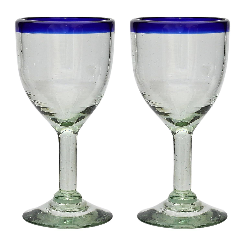 Vaso de Vino Artesanal - Tamaño medio - Vidrio Reciclado - Borde azul - Un Solo Vaso: Amazon.es: Hogar