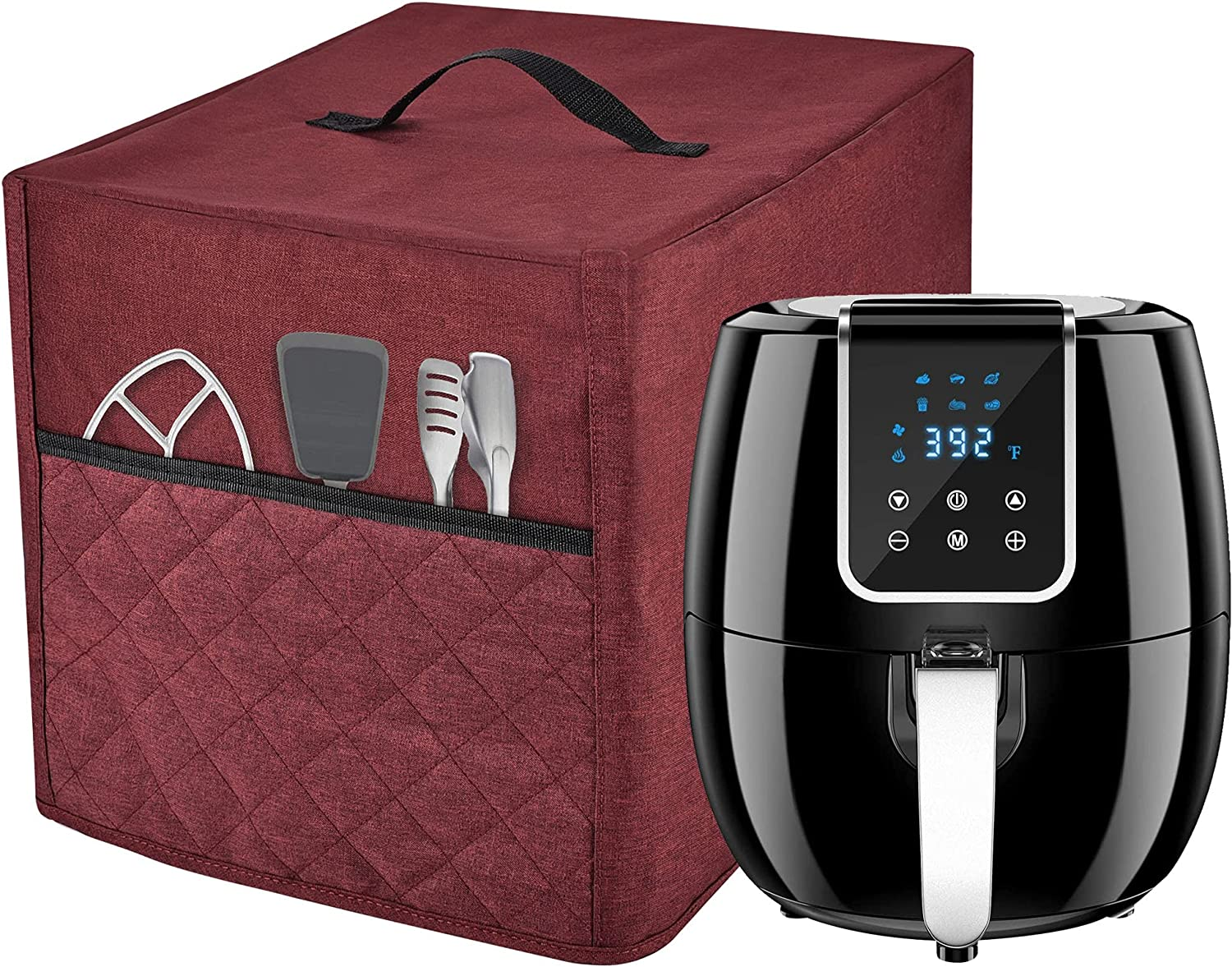 Air Fryer Dust Cover with 3 Accessory Pocket (burgundy, FIT FOR 5-6 QUART)