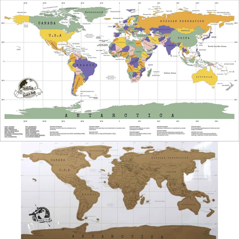 Mapa del mundo de pared para rascar grande – 88 x 52 cm – Incluye ...