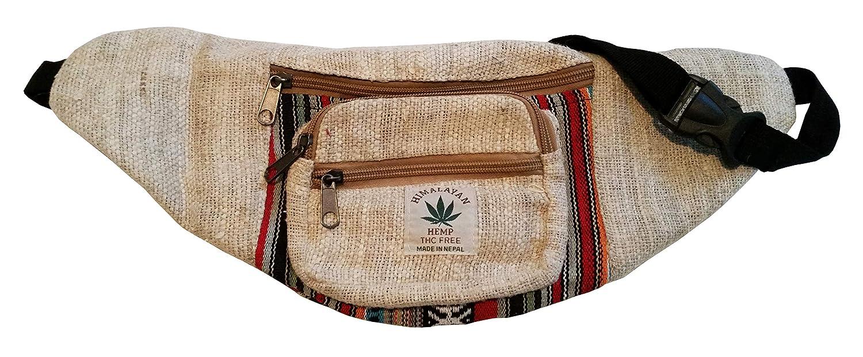 Handgemachte Hüfttasche/Bauchtasche / Gürteltasche aus natürlichem Hanf - Unisex - Made in Nepal