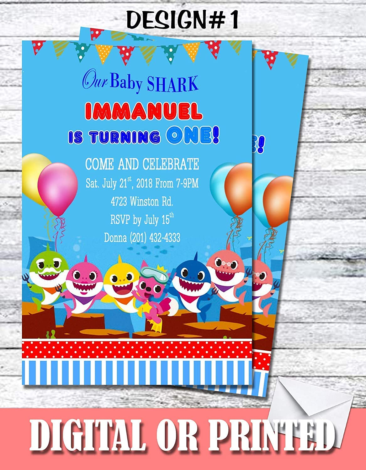 Baby Shark Girl Boy Personalized Birthday Invitations More Designs Inside!