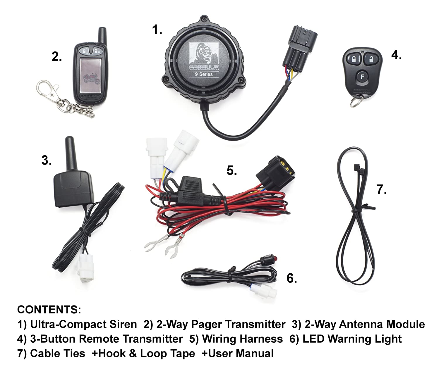 Gorilla Automotive 9000 Motorcycle Alarm with Remote Transmitter