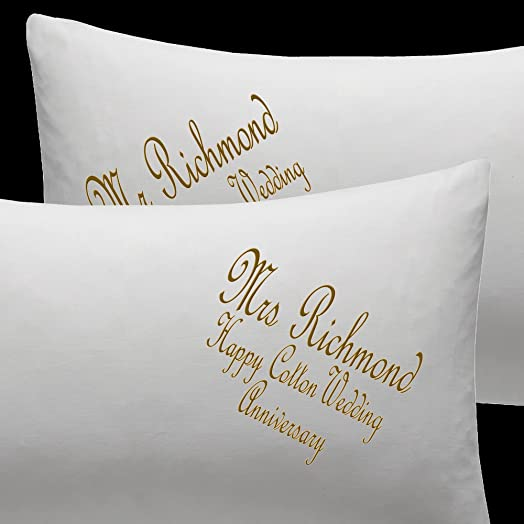 Personalised Embroidered Pillow Cases Cotton Wedding Anniversary Gift