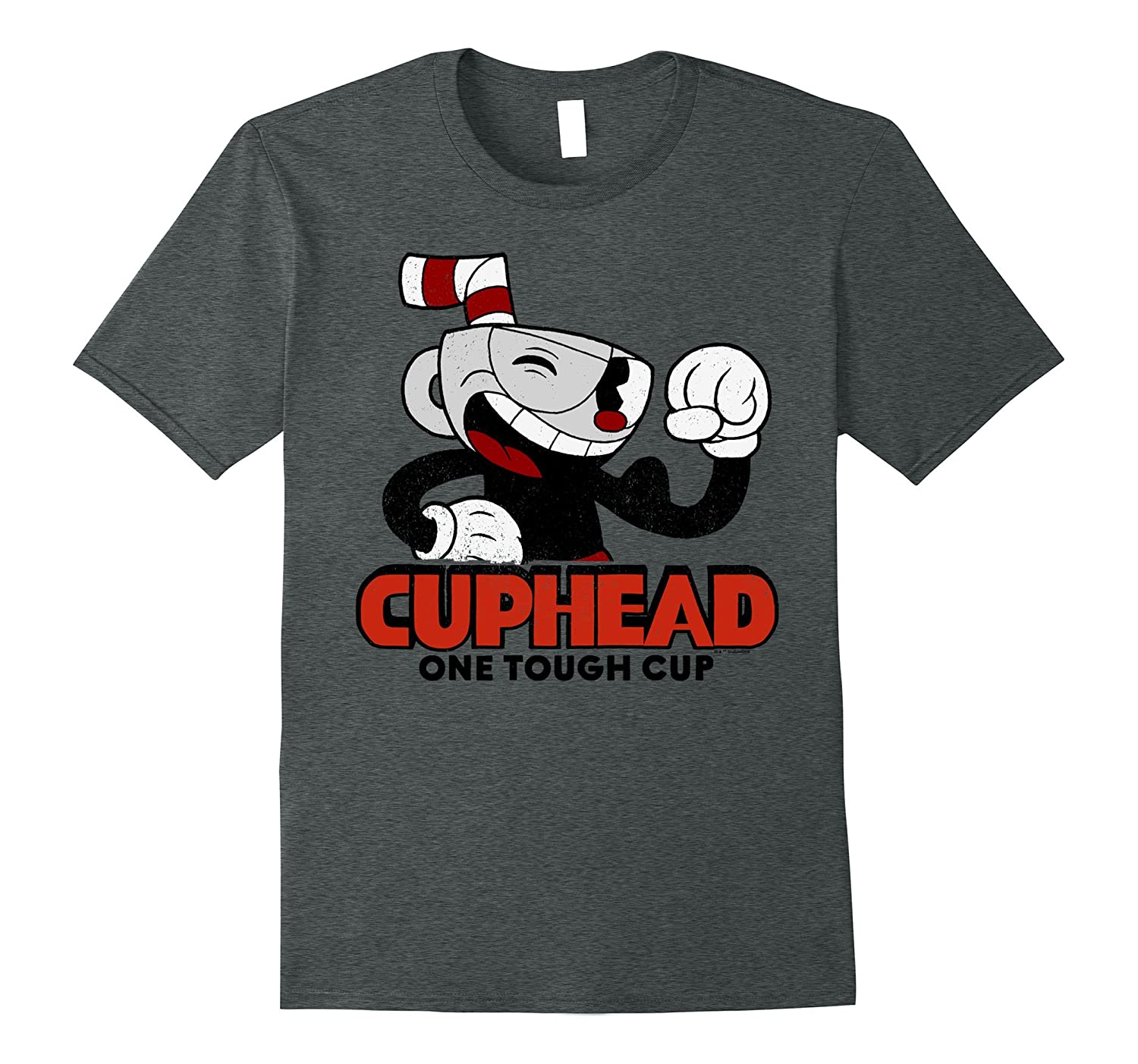 Cuphead Muscle Up One Tough Cup Profile Pose Graphic T-Shirt-RT