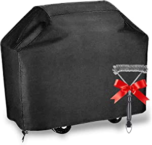 UPODA BBQ Grill Cover 58-inch, Barbecue Gas Grill Cover with Brush, Waterproof Outdoor Heavy Duty UV & Dust & Water Resistant, Weather Resistant, Rip Resistant for Weber Char Broil and More
