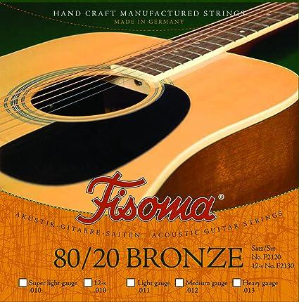 Cuerdas de Guitarra Fisoma – 80/20 Bronce de 12 cuerdas octava ...