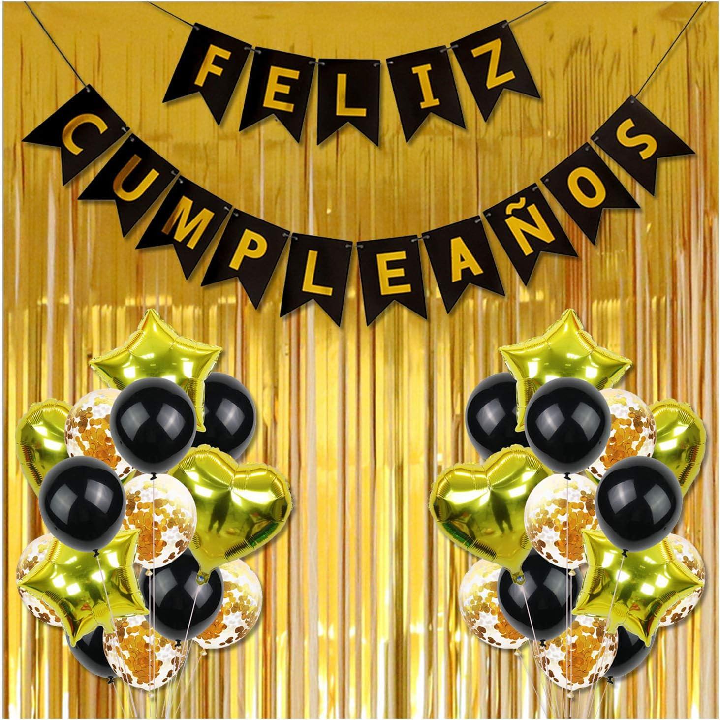Cumpleaños, Feliz CumpleañOs decoración, 30 Piezas de Happy Birthday Decoración Dorada - Pack Incluye Banner, Globos de Confeti, Banderines, Cortinas y Mucho Mas ( Dorado )