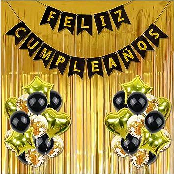 Cumpleaños, Feliz CumpleañOs decoración, 30 Piezas de Happy Birthday Decoración Dorada - Pack Incluye Banner, Globos de Confeti, Banderines, Cortinas y Mucho Mas (Dorado) : Amazon.es: Juguetes y juegos