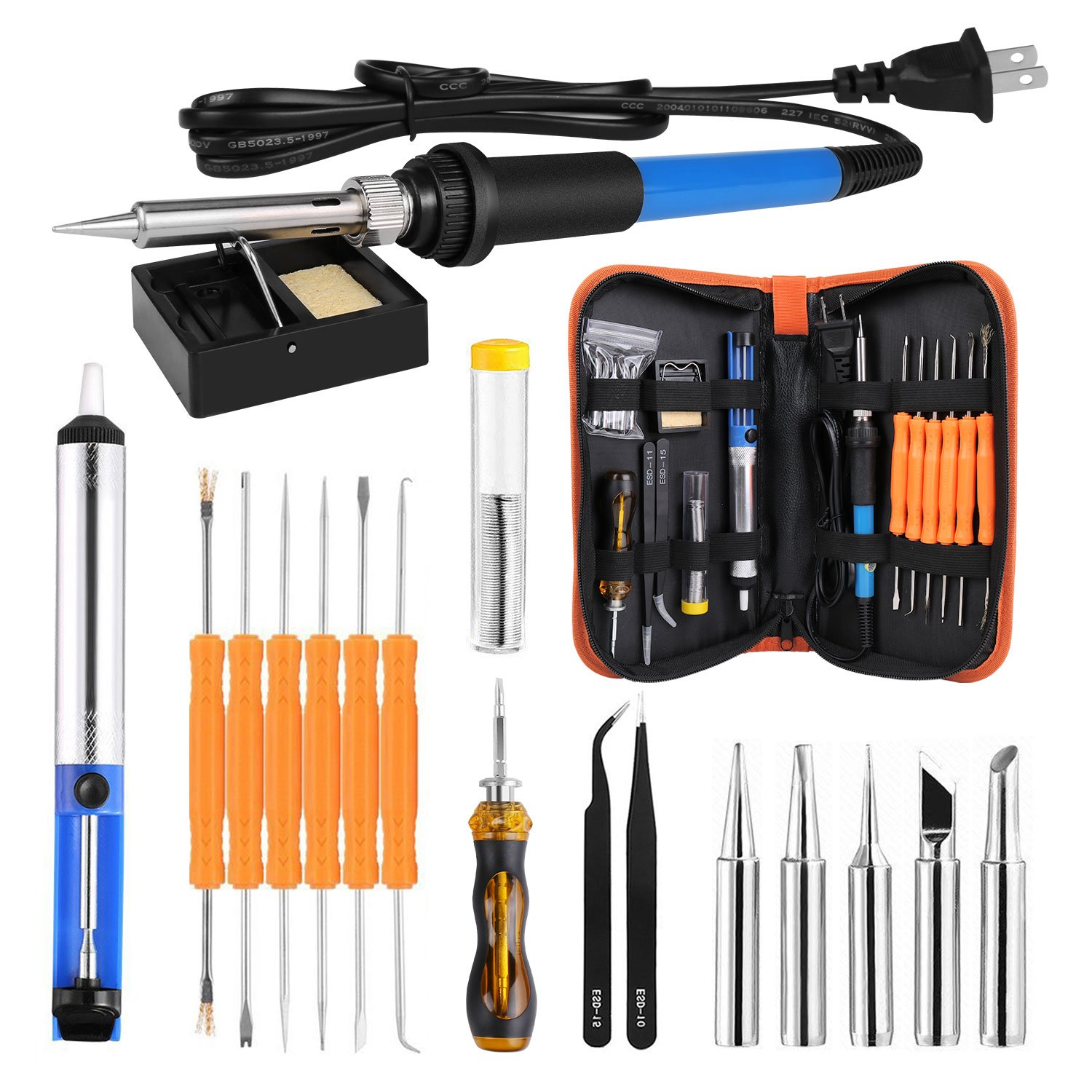 SubClap Soldering Iron Kit, 60W 110V Adjustable Temperature Welding Iron with Desoldering Pump, 5pcs Different Tips, 6pcs Solder Assist Tools, Tweezers, Solder Wire, Stand and Slotted Screwdriver