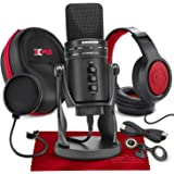 Samson G-Track Pro Professional USB Condenser Microphone with Samson Headphones and Hardbody Headphone Case Accessory Bundle