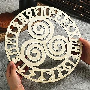 "Simurg Triskele Triple Spiral Symbol in Rune Circle 11.5""Wooden Wall Art Celtic Wall Decor Vintage Irish Wall Art Home Decoration"