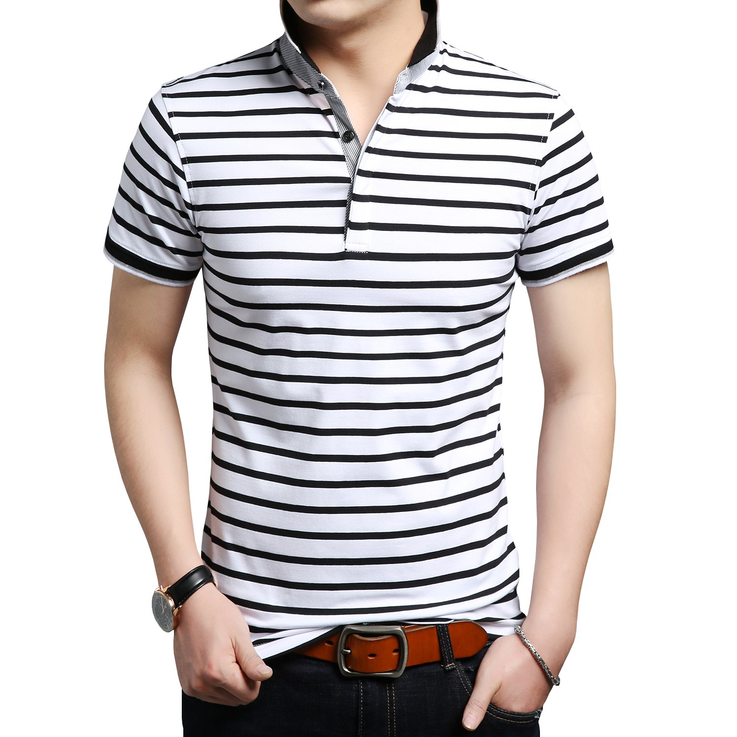 Womleys Mens Casual Striped Slim Fit Short Sleeve Polo Shirts Collared T Shirt
