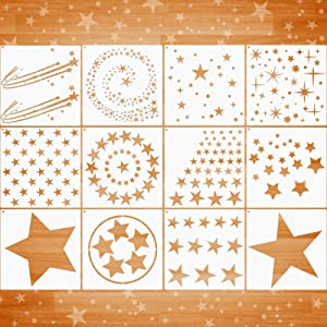 12 Pieces Star Stencil Kits Assorted Star Pattern Stencils Reusable Twinkle Star Template in Different Sizes and Styles with Metal Open Ring for Painting on Tile Wall Home Decor Paper Fabric