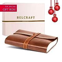 Tivoli Journal Intime / Carnet de Notes en cuir recyclé de fabrication artisanale Italienne, Cadeau Spécial, Journal de Voyage, Notebook (12x17 cm) Brun Clair