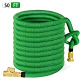 """50ft Garden Hose, ALL NEW 2018 Expandable Water Hose with 3/4"""" Solid Brass Fittings, Extra Strength Fabric - Flexible Expanding Hose with Free Storage Sack by MoonLa"""