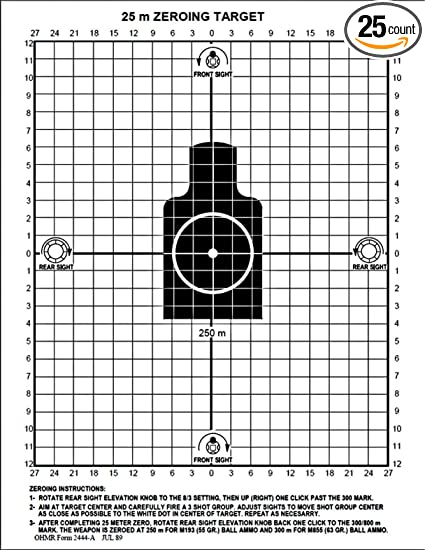 graphic regarding 100 Yard Zero Target Printable named Guns Community Black Rifle Collection 25 Meter Zero Concentration