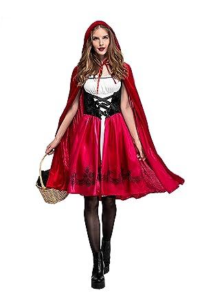 Amazon.com: Womens Little Red Riding Hood Halloween Fancy ...