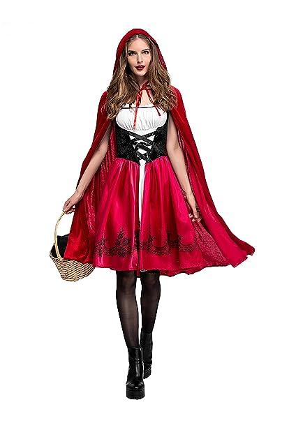 xiemushop Disfraz de Criada para Mujer Traje Medieval Cosplay Caperucita Halloween