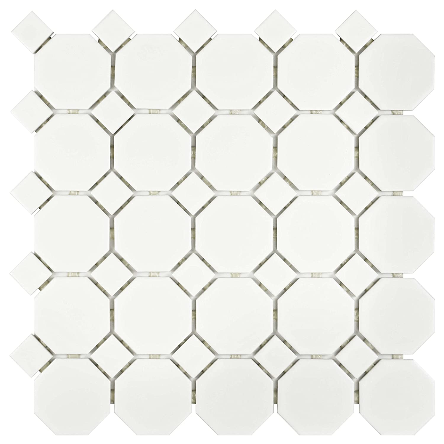 Somertile fxlmowwt retro octagon porcelain floor and wall tile somertile fxlmowwt retro octagon porcelain floor and wall tile 115 x 115 matte white ceramic tiles amazon dailygadgetfo Gallery
