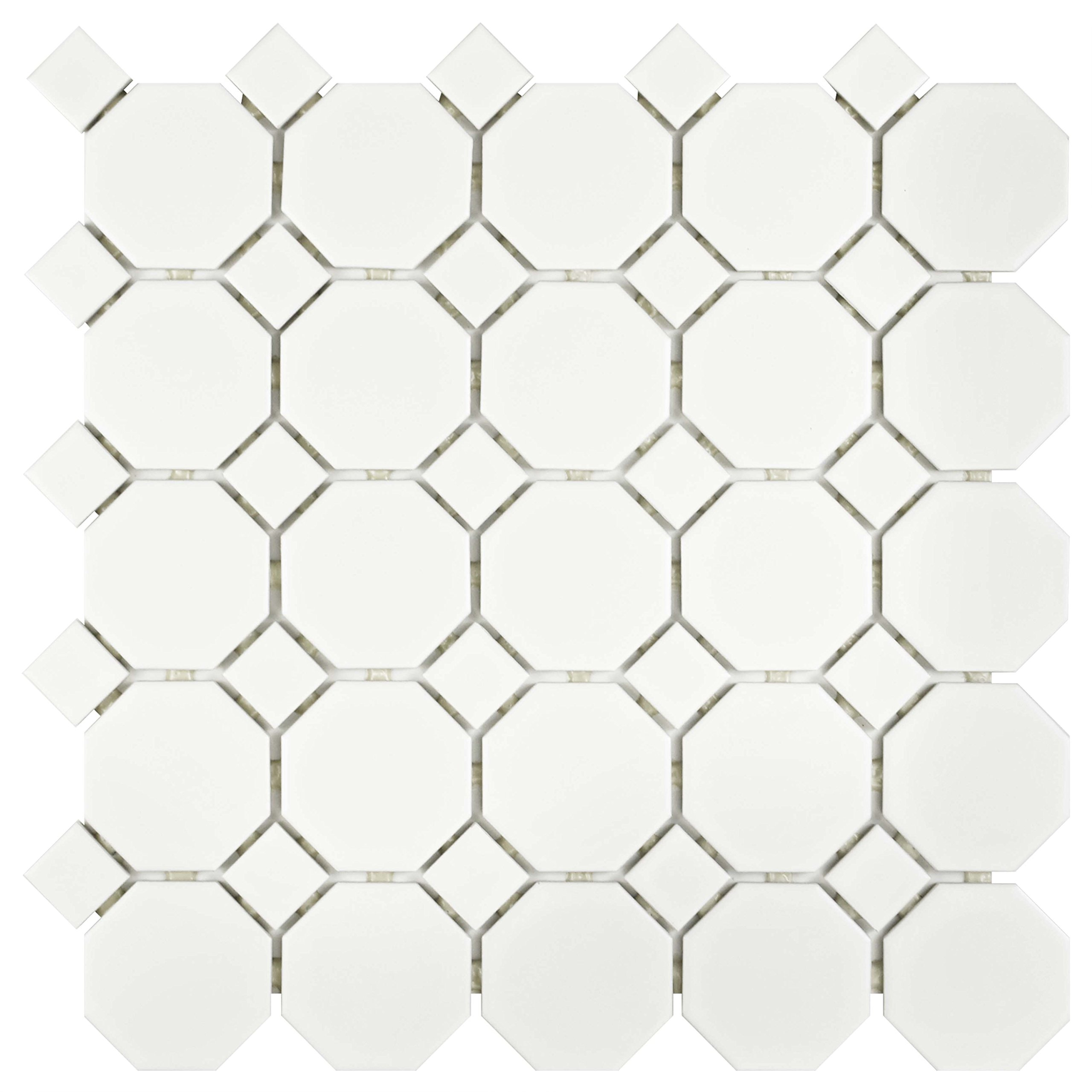 SomerTile FXLMOWWT Retro Octagon Porcelain Floor and Wall Tile, 11.5'' x 11.5'', Matte White