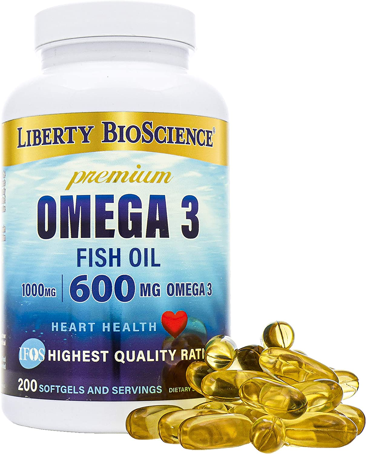 Liberty Bioscience Extra Strength Omega 3 Fish Oil Supplement, 600mg of Omega-3 per Softgel, 200mg DHA 300mg EPA Prenatal Health, 200 Softgels