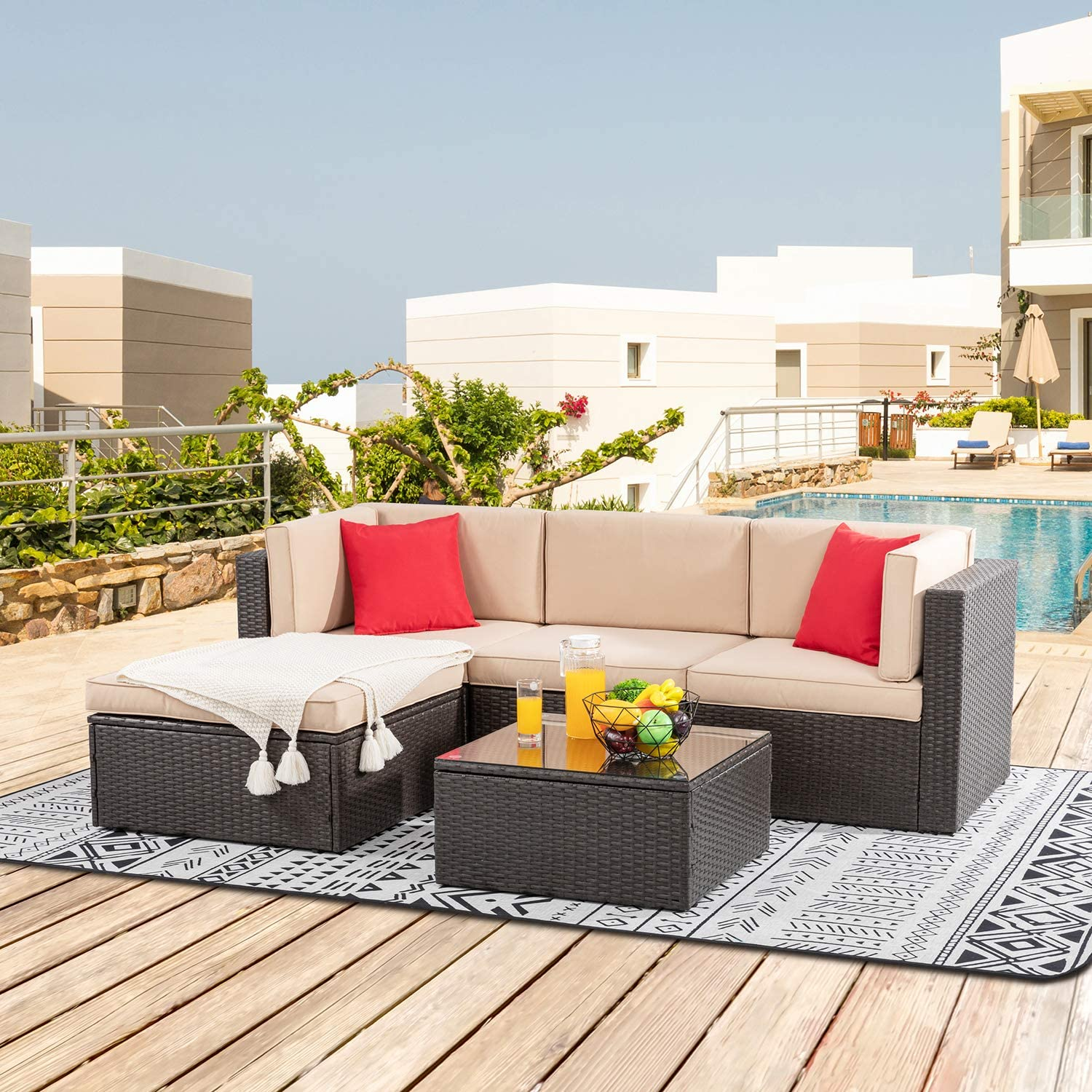 Shintenchi 5 Pieces Patio Furniture Sets Outdoor All-Weather Sectional Patio Sofa Set PE Rattan Manual Weaving Wicker Patio Conversation Set with Glass Table&Ottoman Cushion and Red Pillows (Brown)
