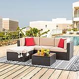 Shintenchi 5 Pieces Patio Furniture Sets Outdoor All-Weather Sectional Patio Sofa Set PE Rattan Manual Weaving Wicker Patio C