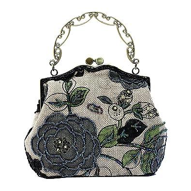 2517971da5fe33 ILISHOP Women's Vintage Luxury Printing Beaded Women Handbag Evening Bag  (Black)