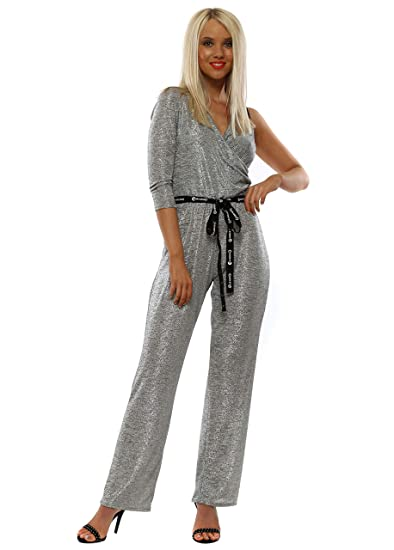 de5460798fb6 My Story Silver Metallic One Shoulder Jumpsuit Silver One Size  Amazon.co.uk   Clothing