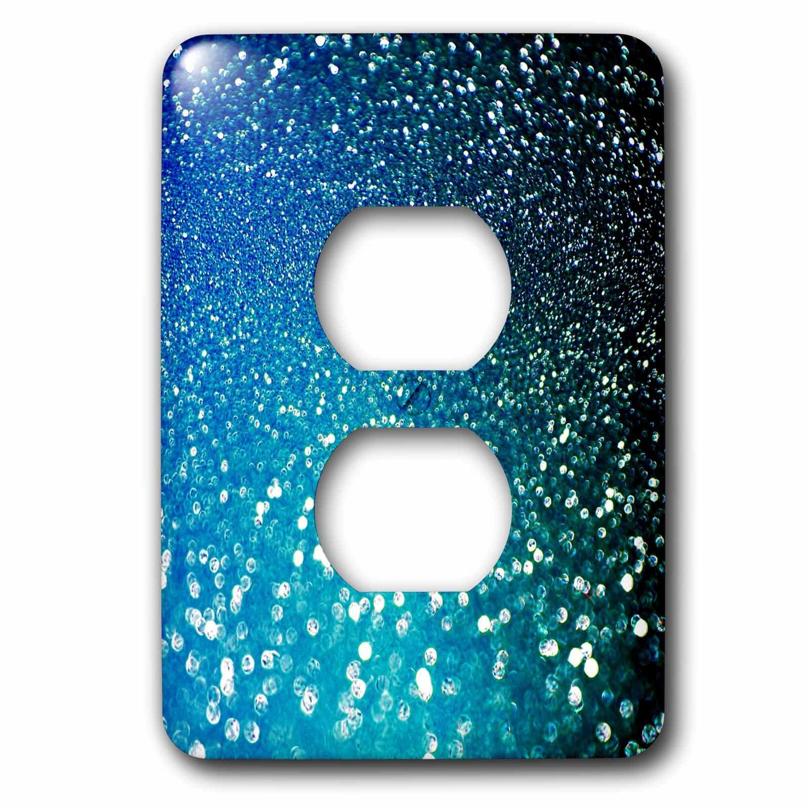 3dRose (lsp_266823_6) 2 Plug Outlet Cover (6) 2 Sparkling Ocean Blue Luxury Elegant Mermaid Glitter Effect Art Print by 3dRose (Image #1)