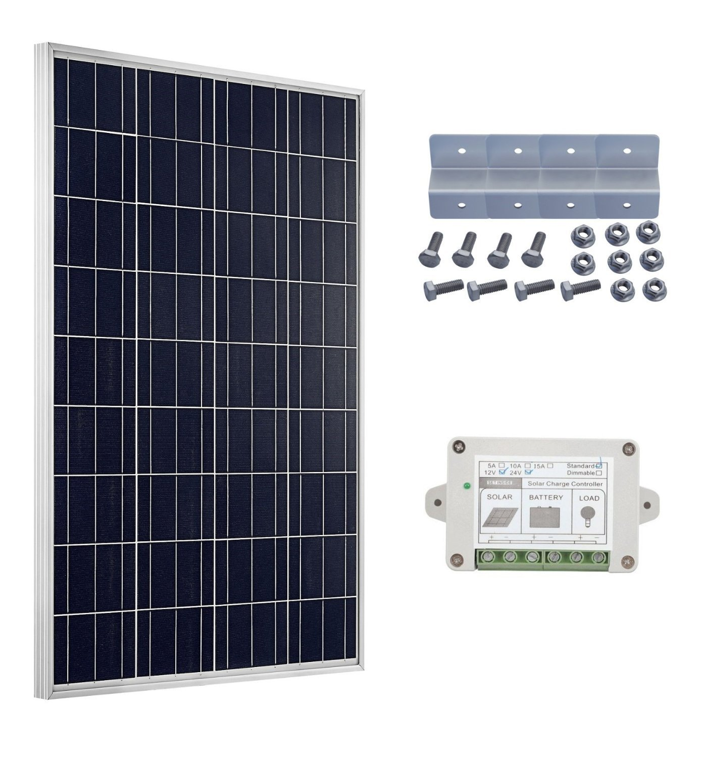 ECO-WORTY 100W Solarmodul 12V Solarzelle W/ 15A Charge Controller and Z Mounting Bracket