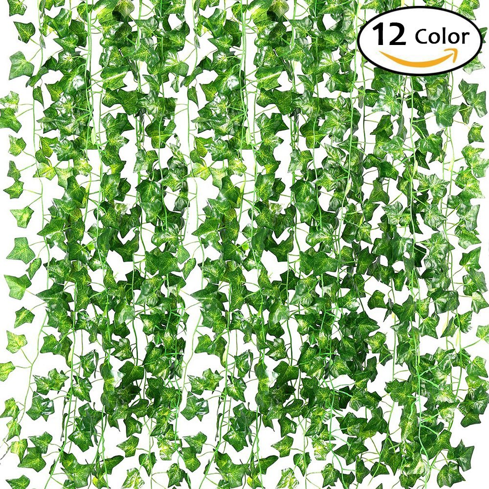 QC Life 84 FT Artificial Ivy Fake Greenery Leaf Garland Plants Vine Foliage Flowers Hanging for Wedding Party Garden Home Kitchen Office Wall Decoration(12 Pack)