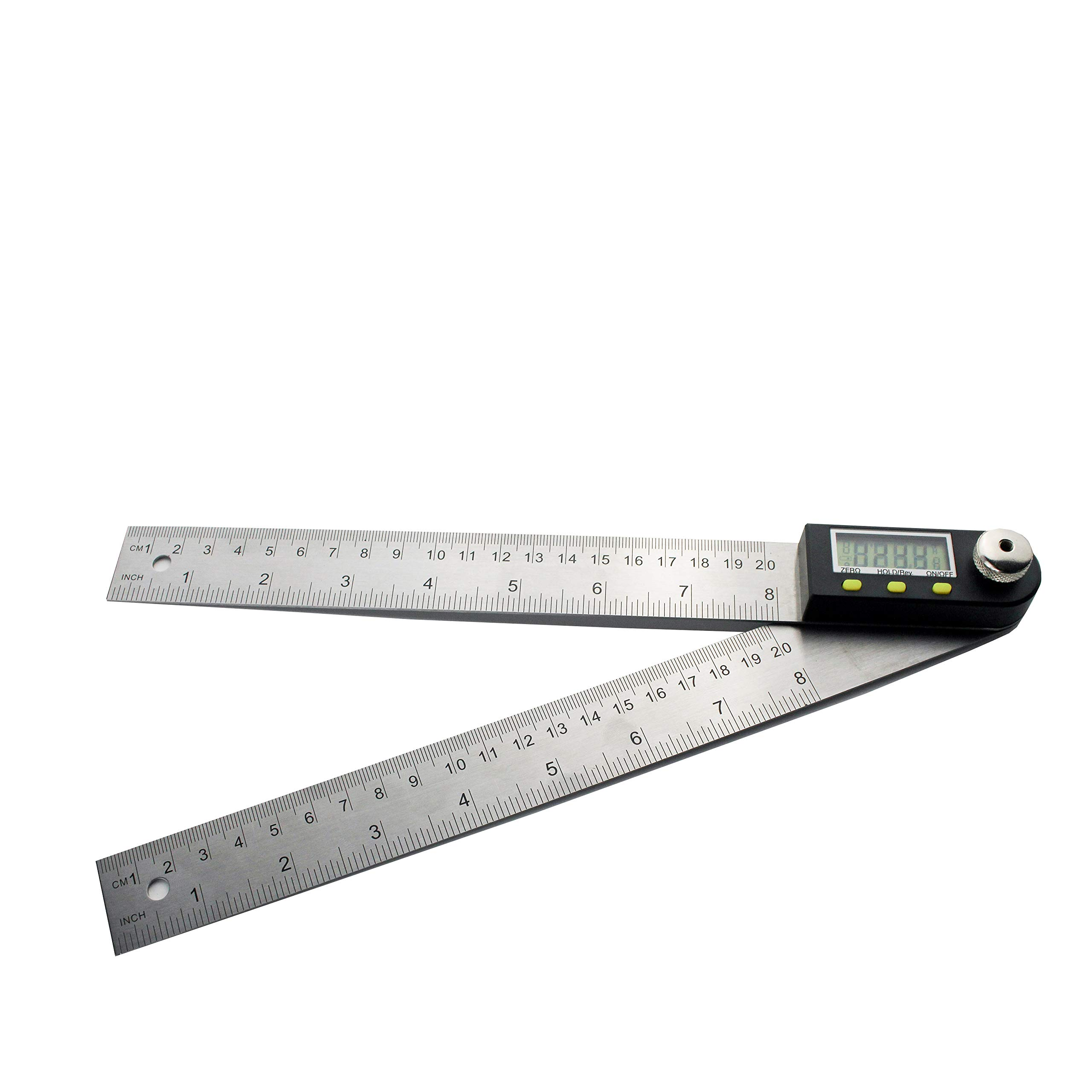 Digital Angle Finder Protractor, PUSU 8 Inch Angle Finder Ruler with HOLD and Zeroing Function, Large LCD Display, Coin Battery Included for Woodworking, Repairing (Stainless Steel 200mm)