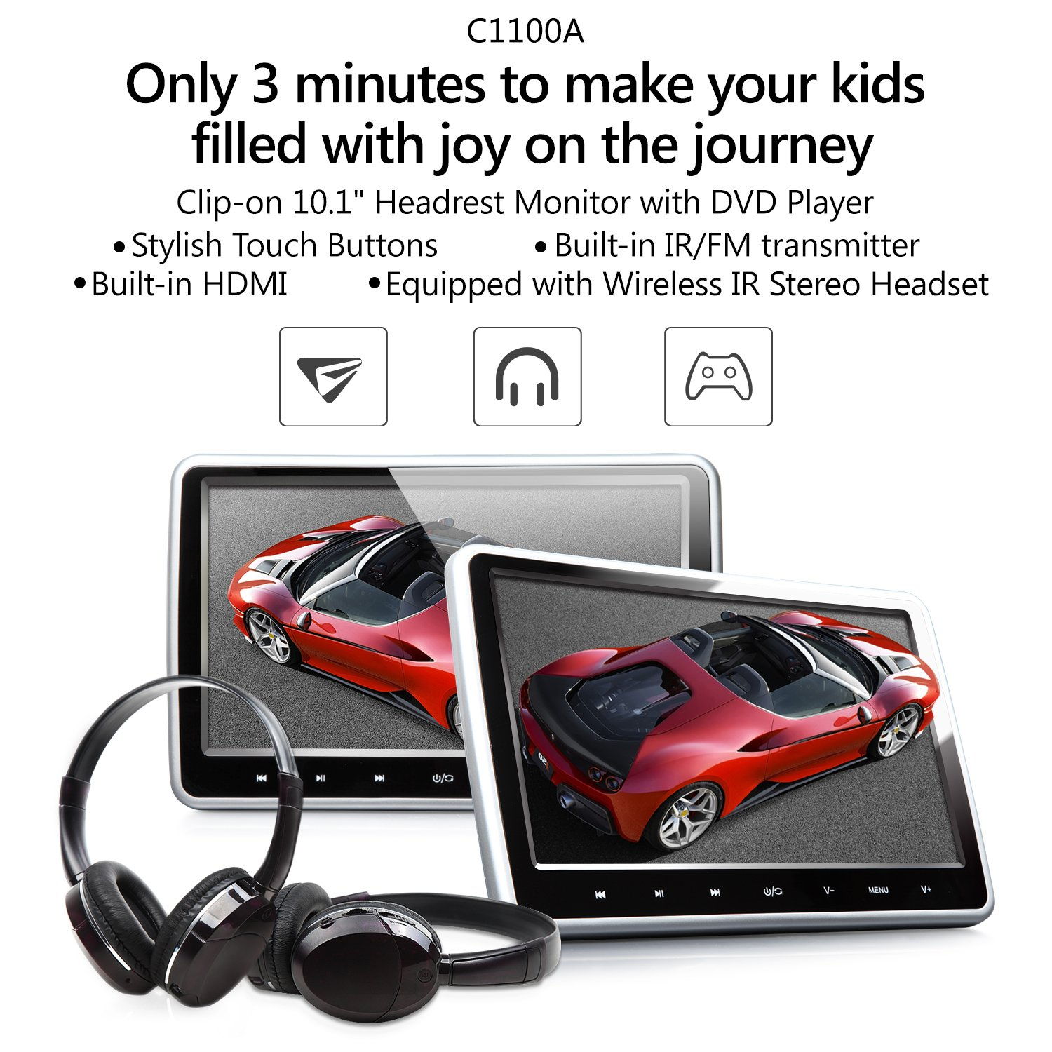 Eonon C1100A Black 10.1 Inch Clip-on Digital Screen Headrest Monitor with DVD Player One Pair by Eonon (Image #2)