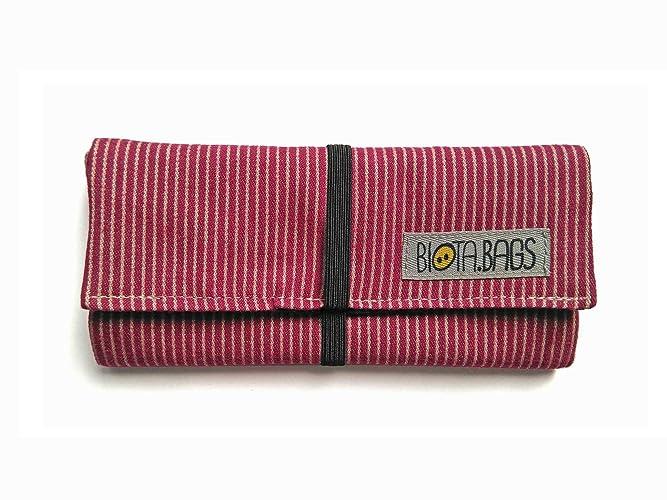 Pitillera tabaco de liar de tela, rayas color frambuesa ...