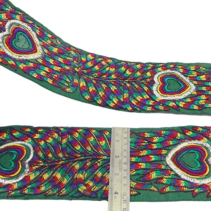 """Purple Peacock Embroidered Trim Fabric Ribbon 4.2"""" Wide Trim Border By The Yard"""