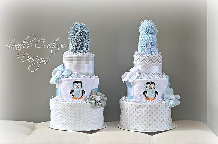 Amazon Com Twin Boy Penguin Diaper Cake Gift Set Handmade