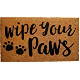 """Coco Coir Door Mat with Heavy Duty Backing, Wipe Your Paws Doormat, 17""""x30"""" Size, Easy to Clean Entry Mat, Beautiful Color an"""