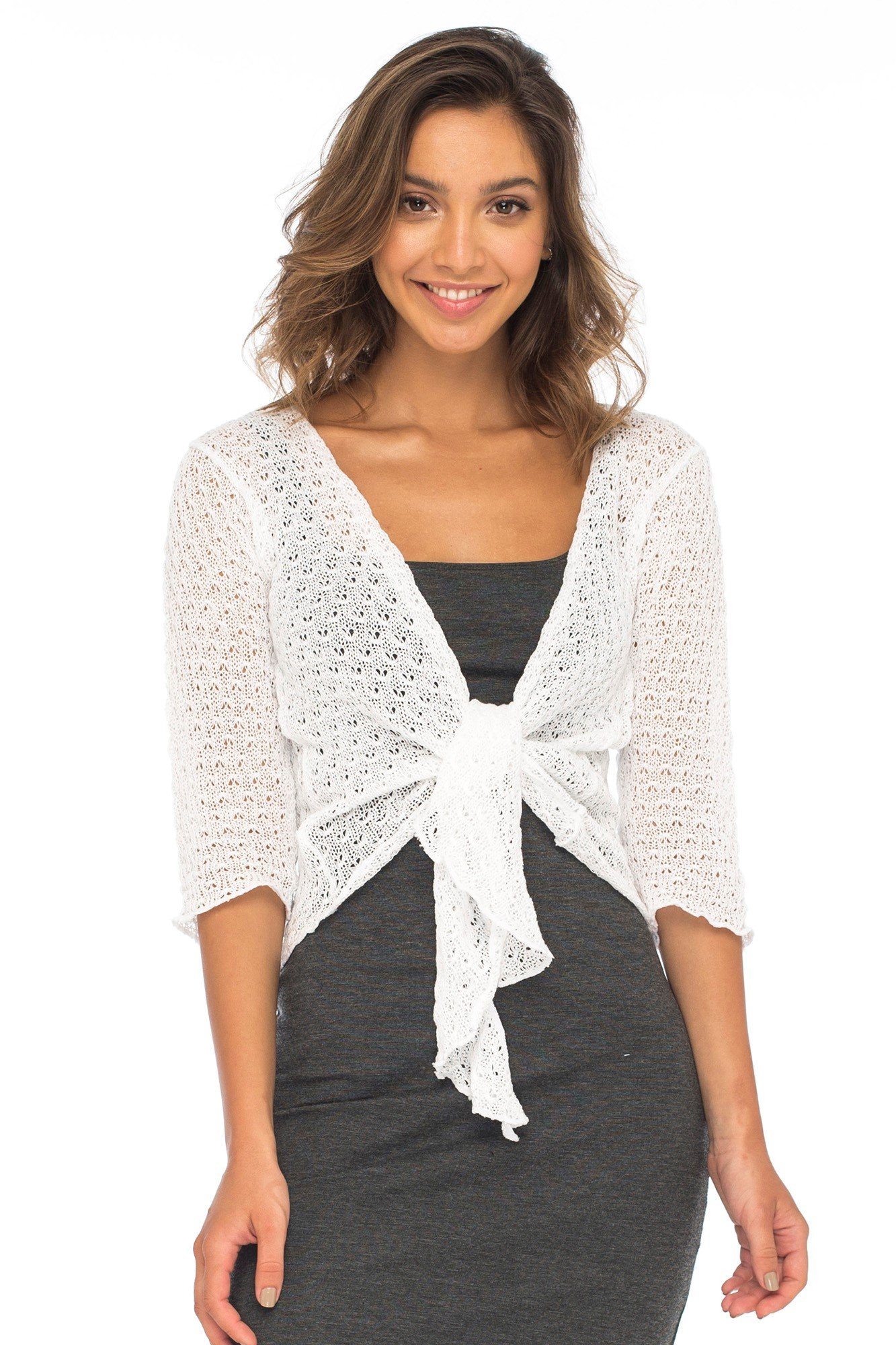 Back From Bali Womens Shrug Cardigan 100% Cotton Lightweight Knit Sweater Tie Front White