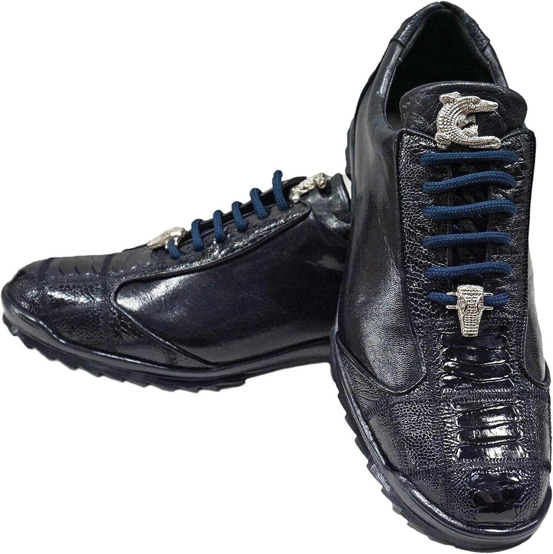 NEW Belvedere Mens Genuine Hornback Crocodile Leather Sneaker Shoes Vasco Blue