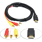 RiaTech HDMI to 3 RCA or RGB HDMI to AV Male Adapter Audio Video Cable for HDTV -1.5M