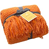 MELODY HOUSE Super Soft Throw, Decorative Woven Plaid Pattern Throw Blanket with Tassels, 50x60, Orange