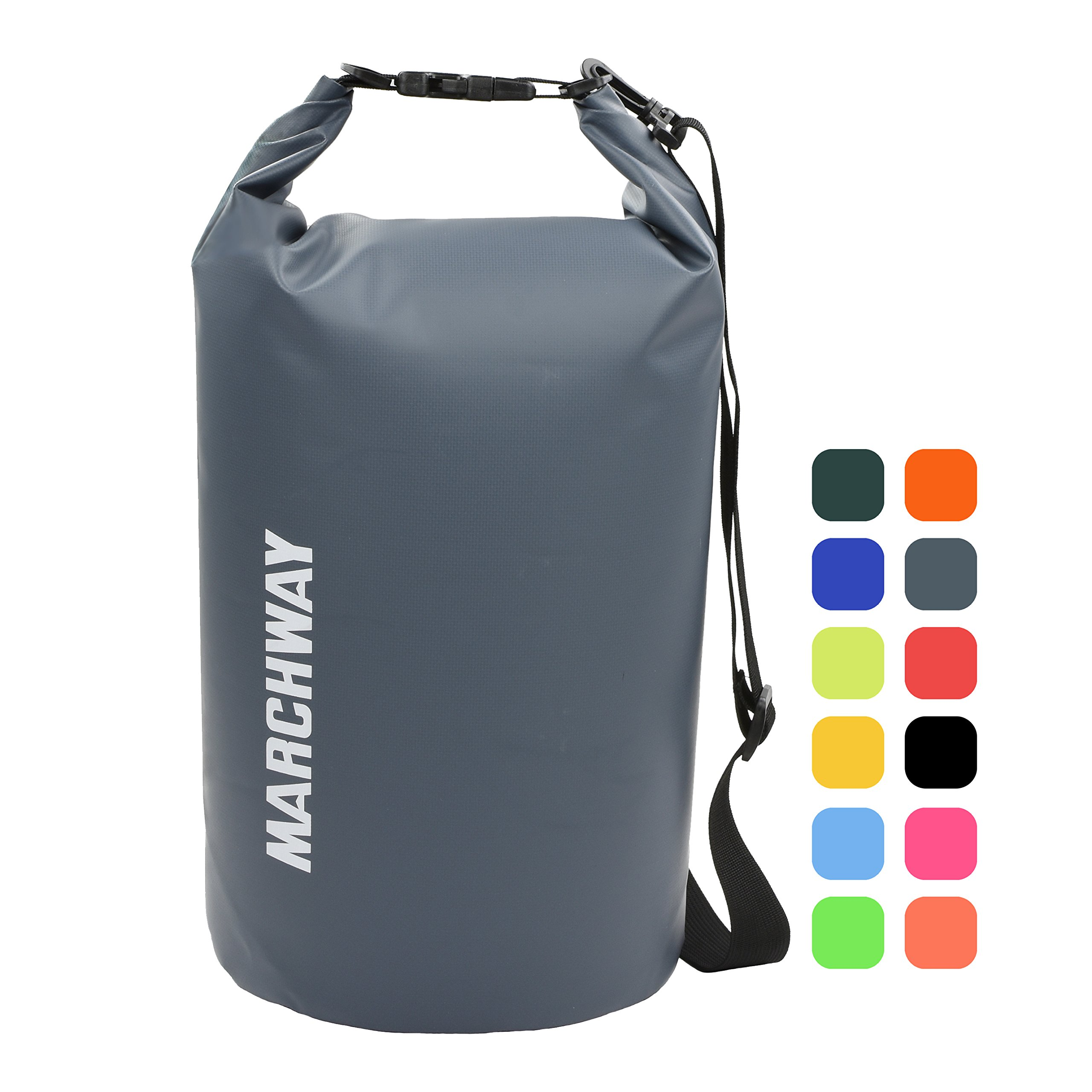 MARCHWAY Floating Waterproof Dry Bag Backpack 5L/10L/20L/30L/40L, Roll Top Pack Sack Keeps Gear Dry for Kayaking, Rafting, Boating, Swimming, Camping, Hiking, Beach, Fishing (Grey, 20L) by MARCHWAY